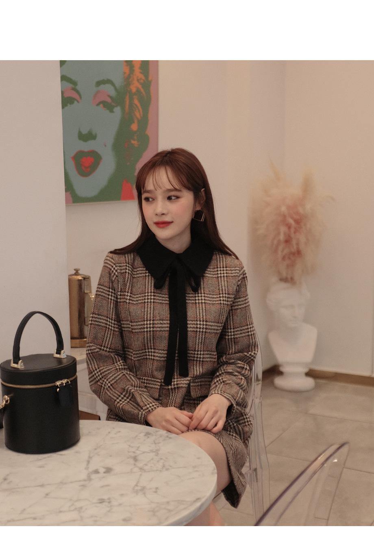 리리앤코 메리골드 체크 배색 원피스